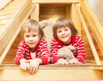 Portrait of cute twin girls Royalty Free Stock Image