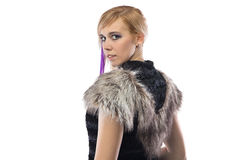 Portrait of cute woman in fake fur jacket royalty free stock images