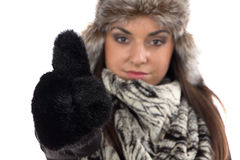 Portrait of cute woman in fur mittens Stock Photography