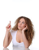 Portrait cute woman, her arm under chin, she is looking aside Royalty Free Stock Photography