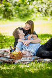 Portrait of cute woman hugging boyfriend on blanket at picnic Royalty Free Stock Photos
