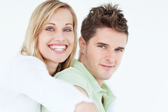 Portrait of a cute woman hugging her boyfriend Royalty Free Stock Photo