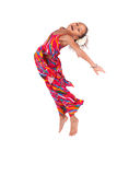 Portrait of Young African Asian girl jumping Stock Images