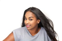 Portrait of a cute young black female royalty free stock photography