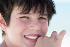 Portrait of cute young boy on the beach Stock Image