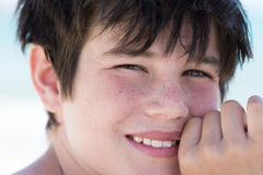Portrait of cute young boy on the beach Stock Photo