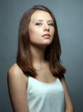 Portrait of cute young brunette with healthy skin Royalty Free Stock Photo