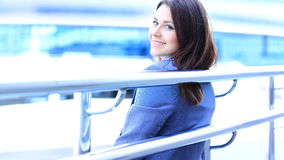 Portrait of cute young business woman outdoor Stock Images