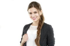 Portrait of a cute young business woman smiling Royalty Free Stock Images