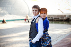 Portrait of a cute young couple Stock Photos