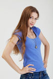 Portrait of cute young girl in casual clothes Royalty Free Stock Photography