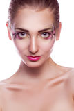 Portrait of cute young girl with make up in studio Royalty Free Stock Photo