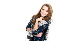 Portrait of cute young girl smiling Stock Photos