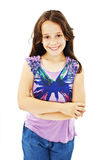 Portrait of a cute young girl standing with folded hands Royalty Free Stock Photo