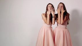 Portrait of cute young girlfriends with long hair, wearing in skirts of peach color. Two sweet women having fun together. And sending kiss at camera. Concept of stock video