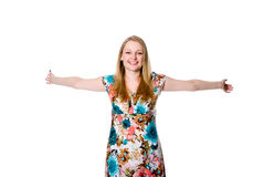 Portrait of cute young lady spreading her arms Stock Images