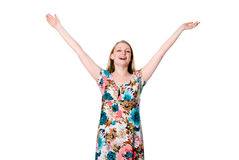 Portrait of cute young lady spreading her arms Royalty Free Stock Photos