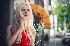 Portrait of cute young model outside Stock Photos