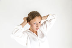 Portrait of cute young shy girl Stock Photography
