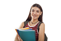 Portrait of a cute young student girl Stock Images