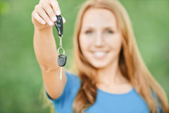 Portrait cute young woman car keys Stock Photo