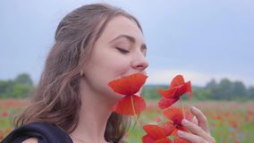 Portrait cute young woman holding and sniffing bouquet of flowers in hands looking in the camera standing in a poppy. Pretty girl in poppy field holding bouquet stock video