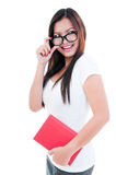 Beautiful Young Woman Holding Book Stock Image