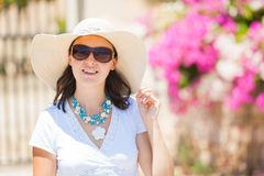 Portrait of cute young woman in summer hat Royalty Free Stock Images