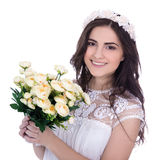 Portrait of cute young woman in white dress with flowers isolate Stock Photo