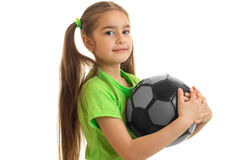 Portrait of the cutest girls with the ball isolated on a white background Stock Photography