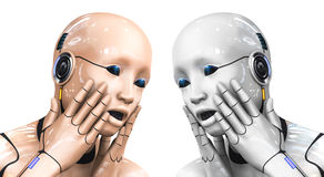 Portrait of a cyborg woman portraying bewilderment. 3d rendering illustration Royalty Free Stock Images