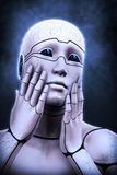 Portrait of a cyborg woman portraying a fright. 3d rendering illustration Stock Photography