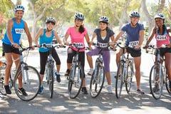 Portrait Of Cycling Club On Suburban Street Royalty Free Stock Photos