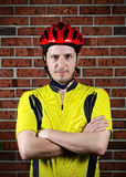 Portrait of a cyclist. Image of a portrait of a cyclist Stock Image