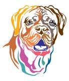 Portrait décoratif coloré de défectuosité de vecteur de Dog Dogue de Bordeaux illustration libre de droits