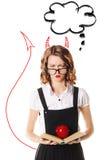Portrait d'écolière malheureuse en chemisier et verres blancs sur a Images stock