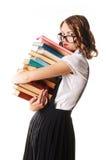 Portrait d'écolière malheureuse sur des verres sur un backgroun blanc Photographie stock