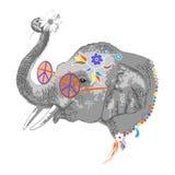 Portrait d'éléphant hippie Photographie stock libre de droits