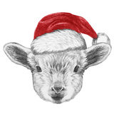 Portrait d'agneau avec Santa Hat Images stock