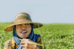 Portrait d'agriculteur de dame travaillant dans le domaine, Bagan, Myanmar Photos stock