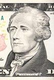 Portrait d'Alexander Hamilton de plan rapproché de billet de dix dollars Photo stock
