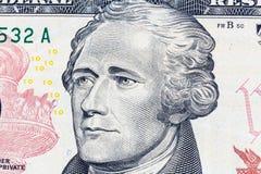 Portrait d'Alexander Hamilton sur la facture de dollar US 10 image libre de droits