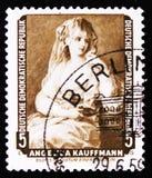 Portrait d'Angelica Kauffmann, un peintre néoclassique suisse, vers 1959 photographie stock libre de droits