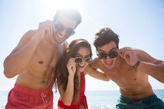 Portrait d'angle faible heureux des amis utilisant des lunettes de soleil contre le ciel clair Image libre de droits