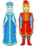 Portrait d'animation d'une famille dans des vêtements russes antiques Photo stock