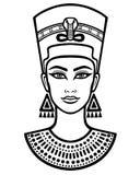 Portrait d'animation de la belle femme égyptienne Illustration de Vecteur