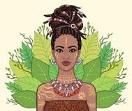 Portrait d'animation de la belle femme de couleur, guirlande des feuilles tropicales illustration de vecteur