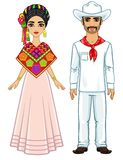 Portrait d'animation de la famille mexicaine dans des vêtements de fête antiques Illustration Stock