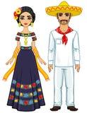 Portrait d'animation de la famille mexicaine dans des vêtements de fête antiques Illustration Libre de Droits