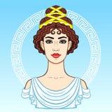 Portrait d'animation de la jeune belle femme grecque dans des vêtements antiques Cercle décoratif illustration libre de droits